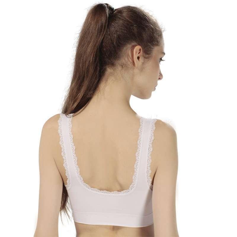 女士背心式无痕花边运动文胸内衣无钢圈薄款瑜伽