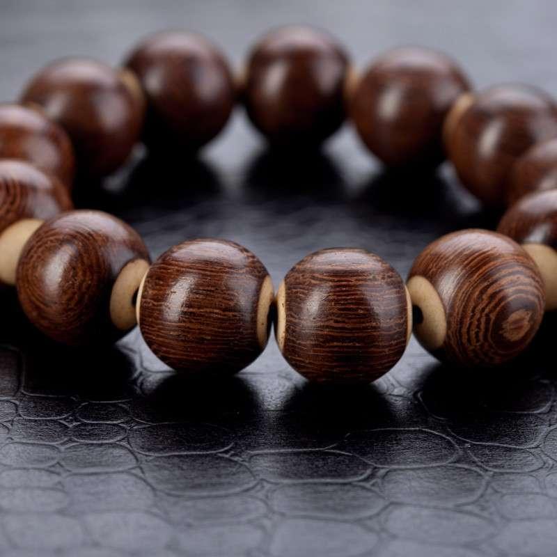 沐恩 天然印度金丝檀木 顺纹贴骨手串18mm 个性木质饰品 sl1151