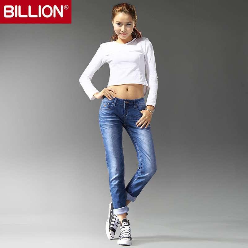 billion 个性休闲卷脚牛仔裤 b22008 中蓝色 26码
