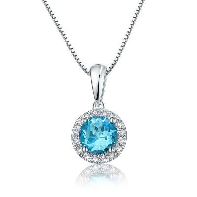 【珂兰钻石】蔚蓝之星 9k白金钻石镶嵌蓝托帕石吊坠 赠送s925银链