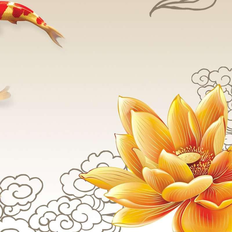 美时美刻 客厅现代装饰画 金色荷花九鱼图 简约无框风水三联壁画