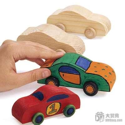 大贸商 幼儿园手工diy制作 手绘小汽车 涂画彩绘 白坯白模上色 4个 ex