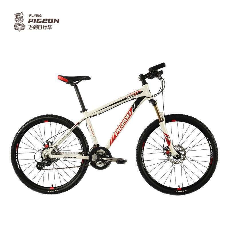 飞鸽变速自行车24速铝合金车架双碟刹禧玛诺牙盘山地