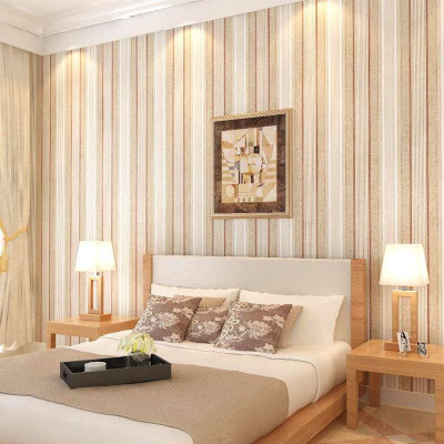 复古纯纸墙纸美式乡村做旧竖条纹卧室客厅个性壁纸