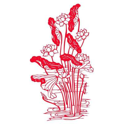 个性一百 莲 清者自清ebg2803剪纸鱼新年春节窗花马年门贴装饰贴纸