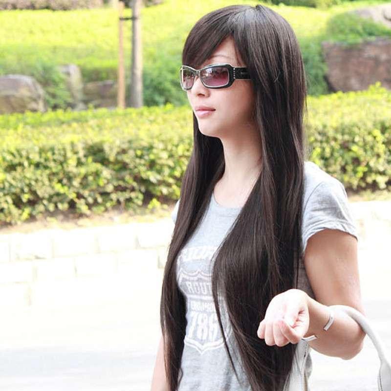 玫瑰雨 超长加量斜刘海直发 女生假发长直发