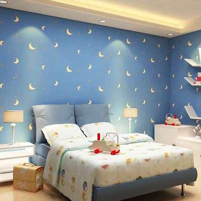 本木卡通壁纸 无纺布男孩女孩儿童房间 环保墙纸 蓝色月亮星星