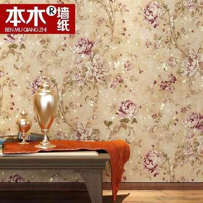 本木美式乡村壁纸卧室房间床头客厅背景欧式复古田园