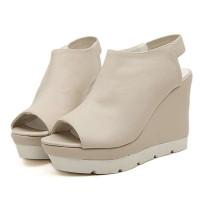 香智兰2014新款设备坡跟鞋鱼嘴高跟鞋v设备女海鲜时尚晒场图片