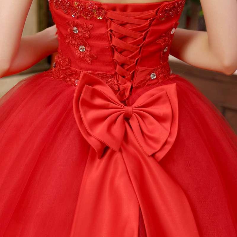 黛米琦大红色婚纱礼服最新款抹胸绑带蕾丝边蝴蝶结新娘结婚婚纱 红色