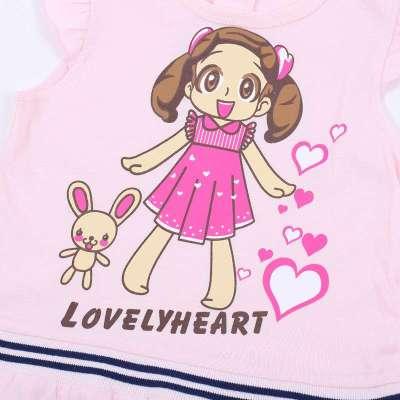 可爱可心 短袖连衣裙 f284m3-0201 粉红色 80cm