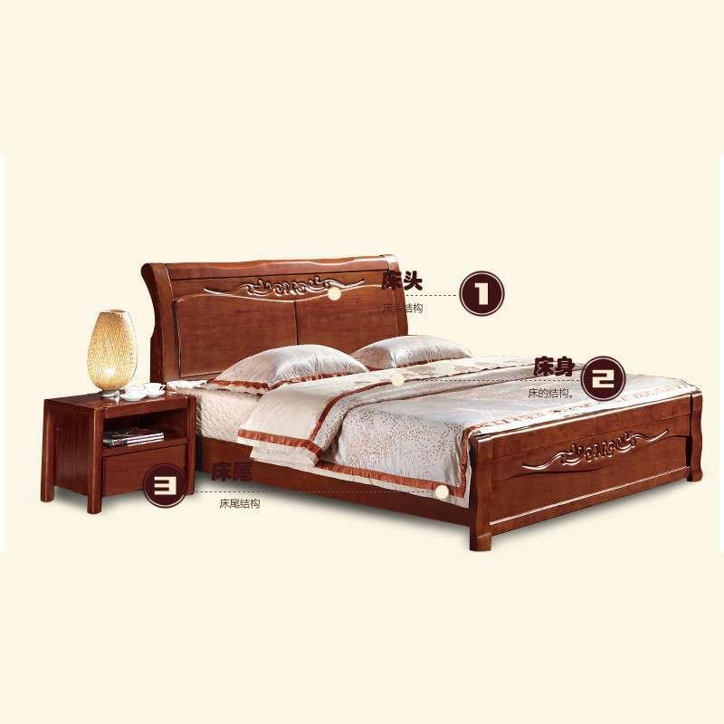 中式实木床尾沙发图片
