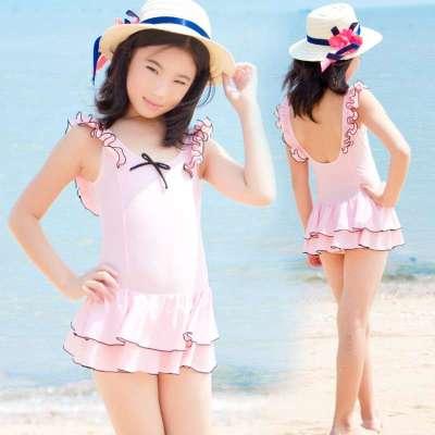 儿童泳衣 大女童 韩国女孩可爱公主中童少女连体温泉学生游泳衣 粉红