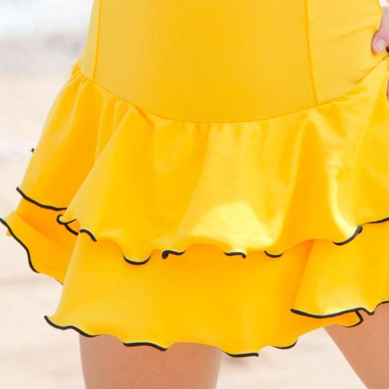 儿童泳衣 大女童 韩国女孩可爱公主中童少女连体温泉学生游泳衣 黄色