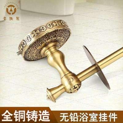老铜匠 全铜欧式卫浴挂件 卷纸架 卷筒纸巾架立式厕纸架 gw10202aab