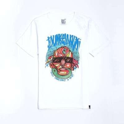 達克沃 原創手繪人物頭像個性涂鴉原創藝術 圓領短袖潮牌t恤