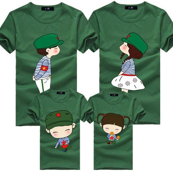 麦韩亲子装 2014夏装潮款一家三口全家装时尚卡通版红军t恤