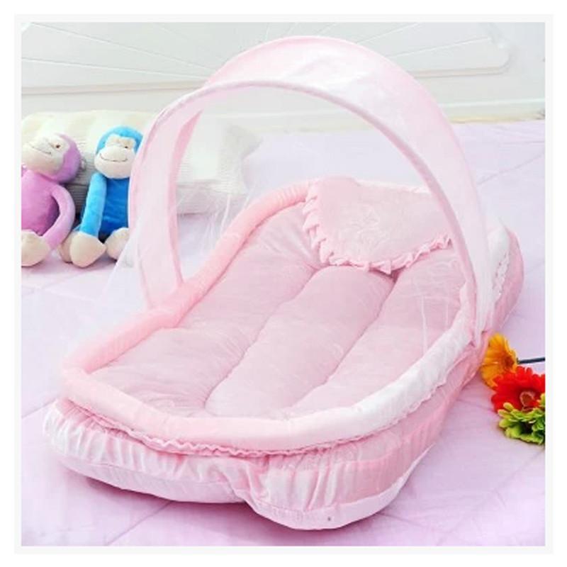 婴儿蚊帐 宝宝可折叠移动防蚊蚊帐 蒙古包有底遮光睡帐篷 粉红色 粉红