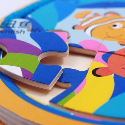 益智木书6面拼图圆形海底世界