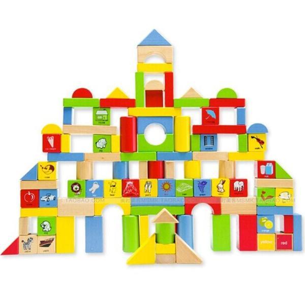 星邦儿童益智启蒙积木木质玩具 大块粒数字宝宝木头桶装积木木制 大