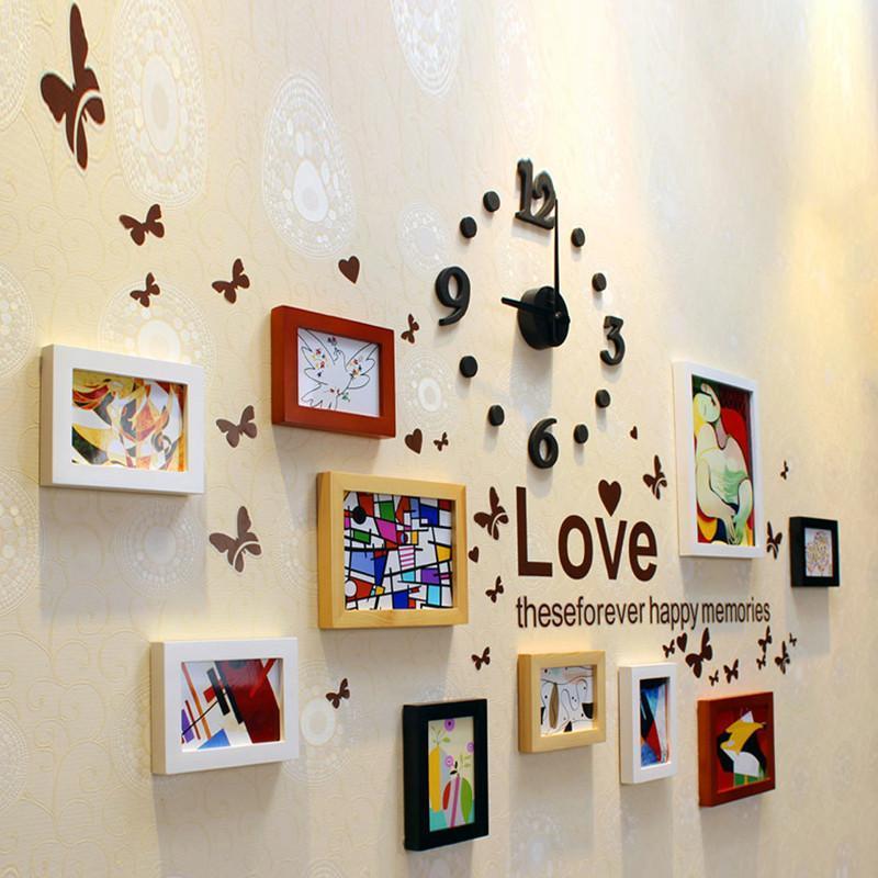 家逸 实木相框 照片墙 时尚创意相片墙 组合混搭相框墙 梦幻色彩