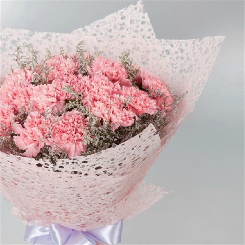 鲜花速递 19朵粉色康乃馨花束