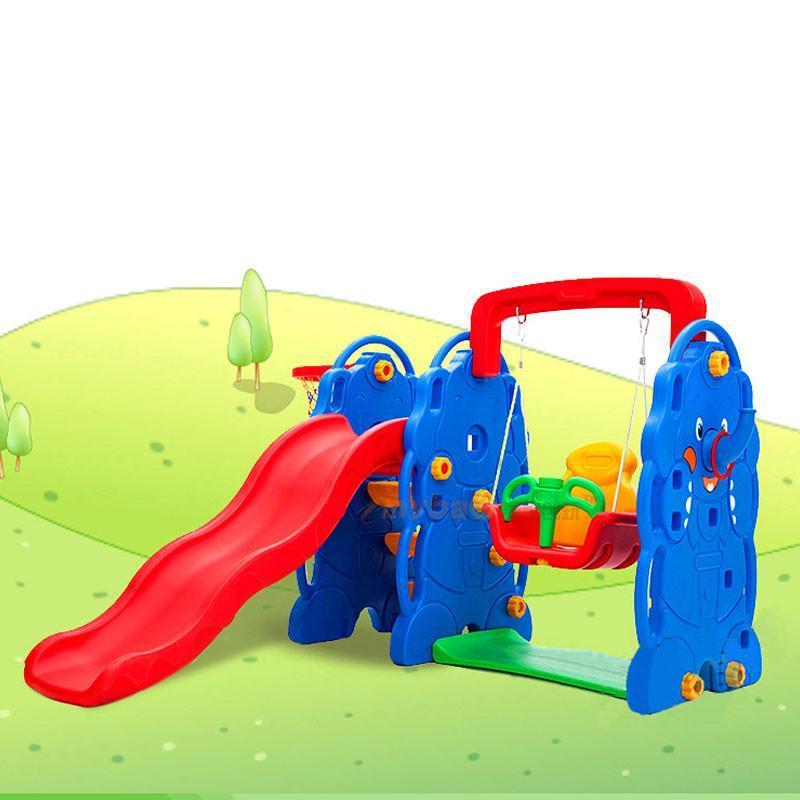 麦宝创玩 滑滑梯秋千篮球架全新加厚三合一升级四合一儿童房塑料爱熊