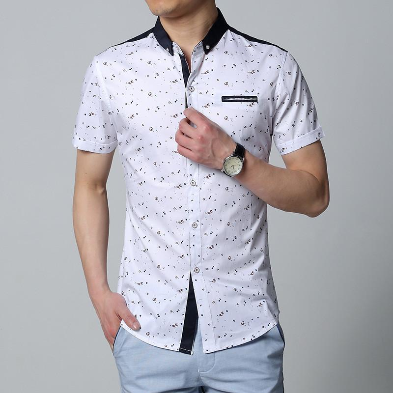小领衬衫男生衬衣碎花短袖