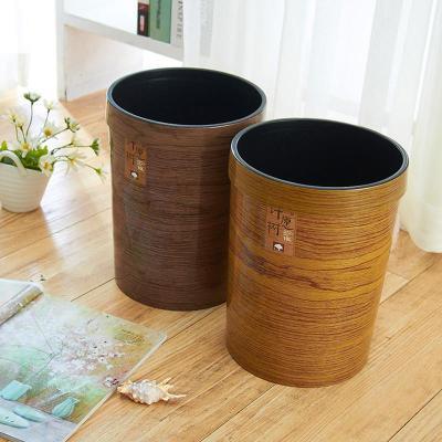 创意家用塑料垃圾桶 木纹欧式垃圾桶