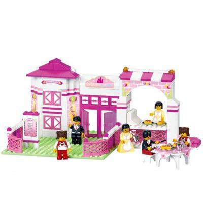 浪漫餐厅乐高式女孩儿童塑料abs拼插拼装积木玩具