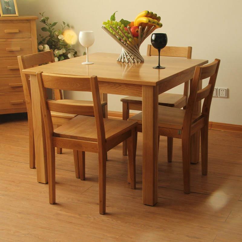 jbt/佳佰庭家具白橡木实木餐桌椅简约欧式餐桌一桌四椅组合col30 pu