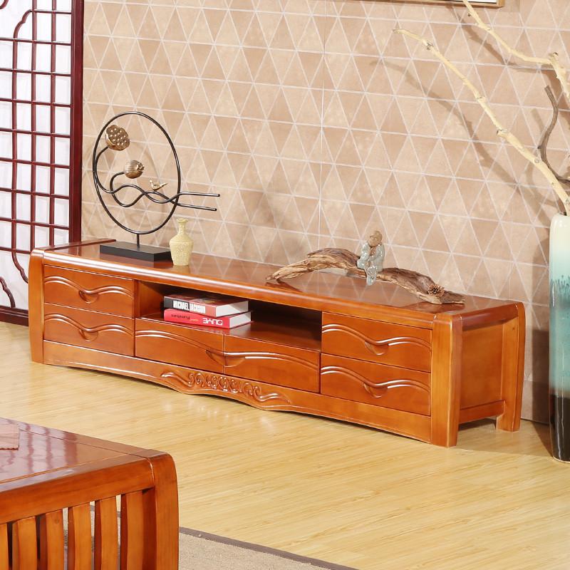 禾辰中式实木电视柜 中式客厅实木家具 现代中式实木电视柜s68 原木色