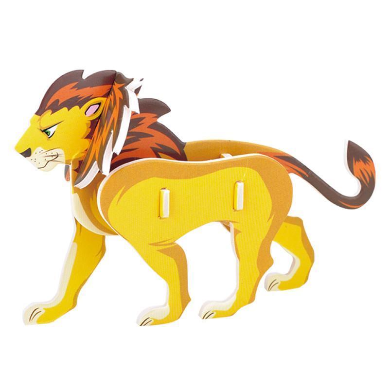 动物3d立体纸质拼图 儿童手工制作益智玩具拼图 diy动物创作 4合1盒装