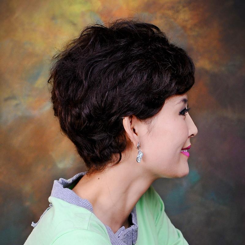 中老年假发真发中年妈妈假发短卷发女蓬松透气
