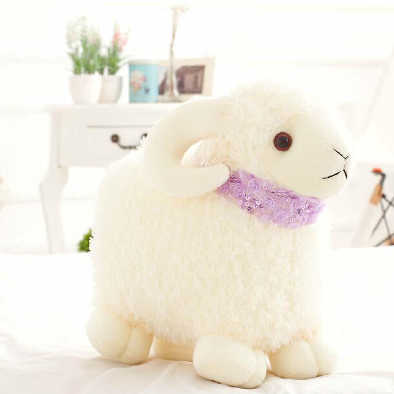 小绵羊公仔毛绒玩具 可爱嘟嘟小羊抱枕娃娃创意生日礼物羊年(高25厘米