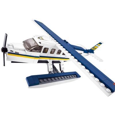 小鲁班积木塑料拼插 拼装玩具益智儿童 航空天地-水上飞机