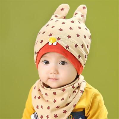 咔米嗒新款新生儿童帽子婴儿帽子秋冬款套头帽纯棉帽三角巾套装 2件套