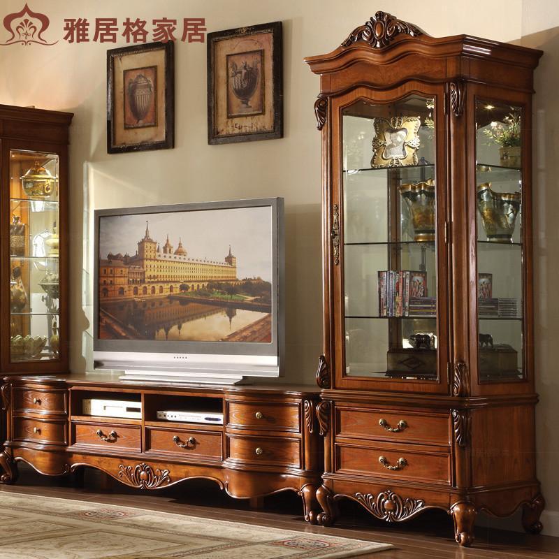 隔断实木美式家具玻璃展示柜