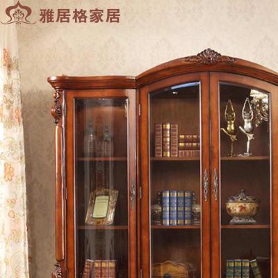 带玻璃门实木书架欧式大书橱