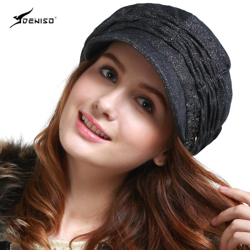 deniso女士冬季鸭舌帽秋冬时装帽淑女帽子ds-1322 黑色