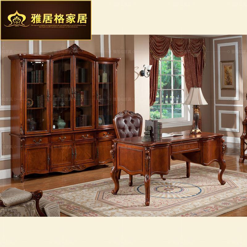 雅居格欧式书桌 美式乡村家具 实木电脑桌 书房办公桌f96401现货