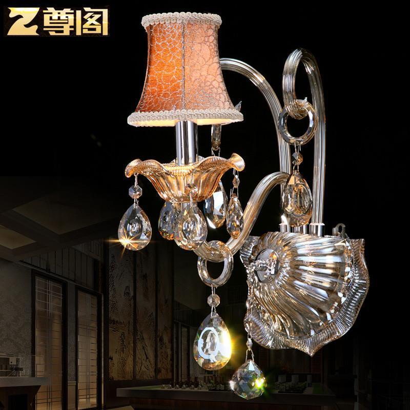 干邑色欧式水晶壁灯 欧式现代卧室床头灯客厅蜡烛墙壁灯z149 奢华版1