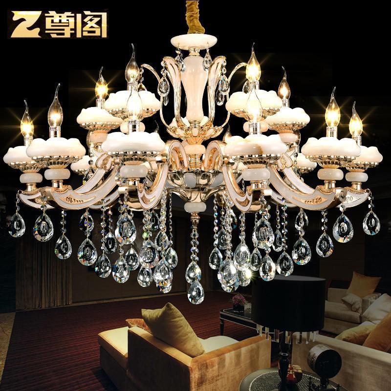 欧式顶级玉石灯蜡烛水晶吊灯 欧式灯高端客厅餐厅水晶吊灯159 预售