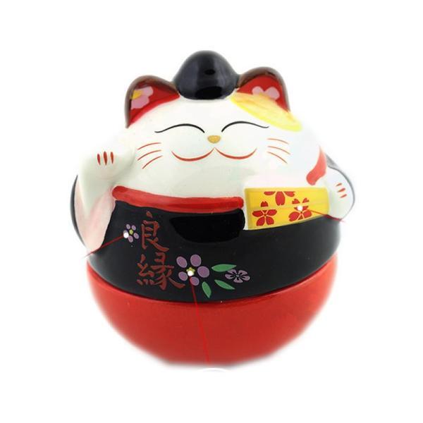 福缘猫 陶瓷招财猫不倒翁摆件 生日礼物女生 可爱萌物创意家居t 情侣
