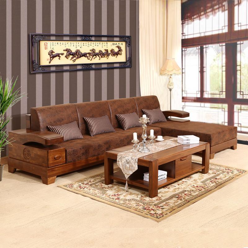 中式时尚客厅布艺实木沙发sf-6磨砂仿古皮布储物沙发