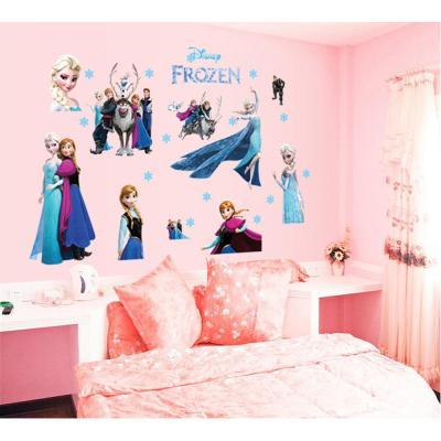 可移除不伤墙 卡通墙贴儿童房女孩装饰贴画 冰雪奇缘公主墙贴纸 cc