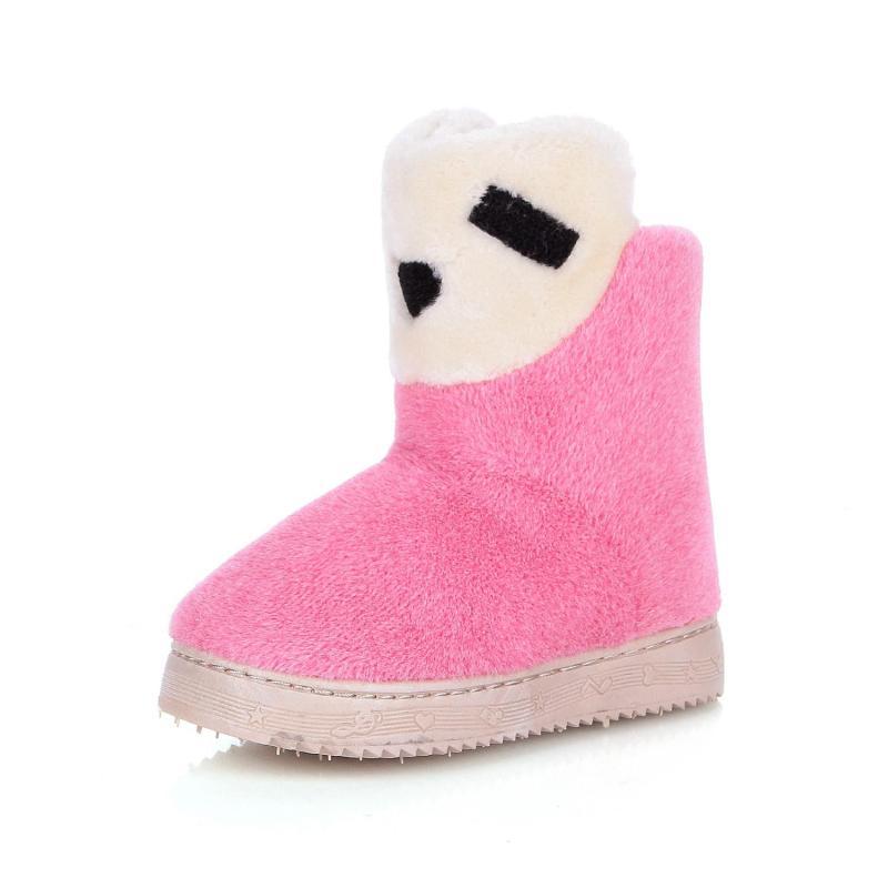 冬季居家毛绒绵儿童拖鞋 中高筒保暖型 可爱卡通亲子鞋防滑包邮 红色