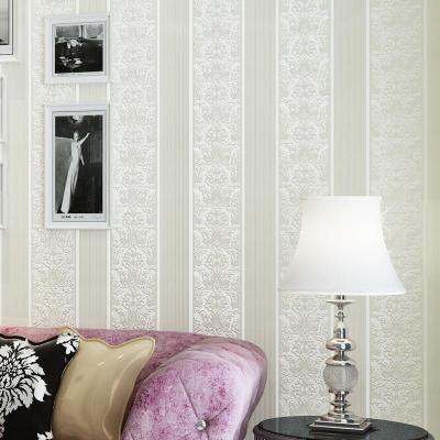 欧式墙纸卧室客厅电视背景墙竖条立体植绒壁纸qhc-m