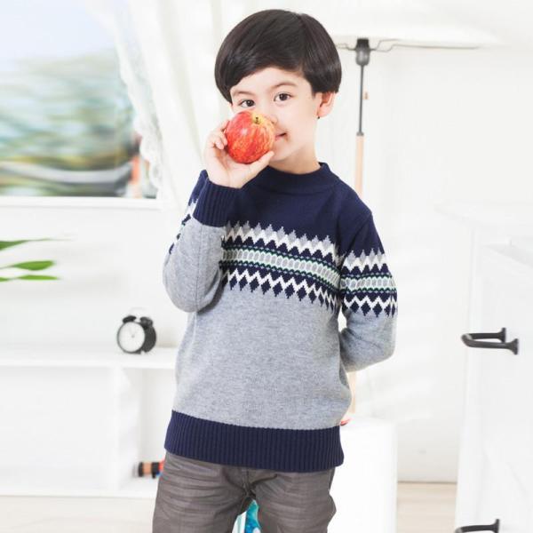 袋袋兔 男童舒适柔软羊绒衫儿童童装羊毛衫 d14231 藏青灰 170图片
