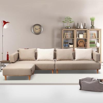 领物现代简约沙发布艺沙发客厅沙发组合简约欧式实木沙发 s9 方墩-